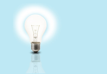 Light bulb on light blue background, Light bulb idea concept
