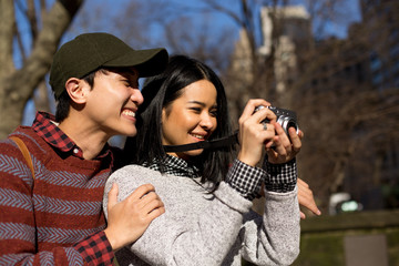 Asian couple exploring Central Park