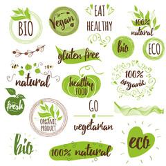 Bio, Ecology, Organic logos, icons, labels, tags. Hand drawn set with vegan, natural badges