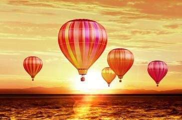 air balloons on sunset