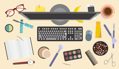 Workplace and a set of cosmetics and makeup items