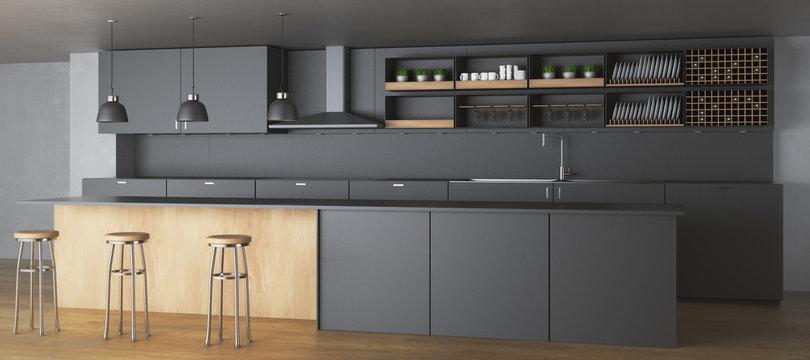 Creative dark kitchen interior