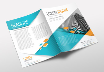 Brochure Cover Layout with Teal and Orange Accents 4
