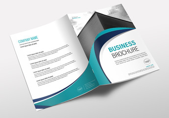Brochure Cover Layout with Teal and Blue Accents 1