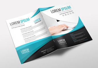 Brochure Cover Layout with Teal and Black Accents 1