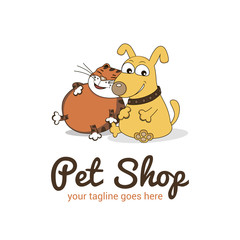 Vector logo template for pet shop,  veterinary clinic. Creative  logotype idea for animal feed. Illustration of cute dog and  cat, cartoon-style.