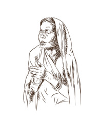 Sketch of Hindu prayer lady with sari in vector illustration.