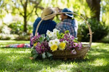 Senior couple taking a selfie in garden