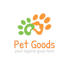 Vector logo template for pet shop,  veterinary clinic. Creative idea for animal feed. Illustration of traces of  animals. EPS10.