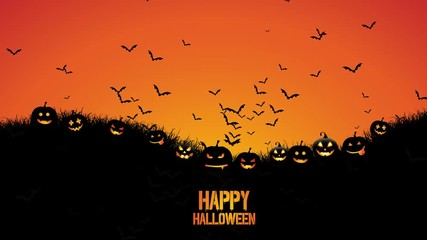 Fototapete - Animation of Halloween background with bats flying into the sky with pumpkins in grass