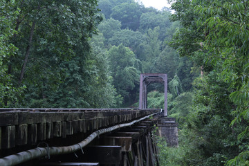Old Wooden Bridge Made for Steam Engine Trains in America