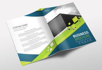 Brochure Cover Layout with Blue and Green Accents 3