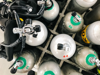 Oxygen tanks and scuba diving gear