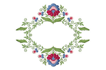 Frame pattern with a stylized flower with large leaves and twisted stems on a white background