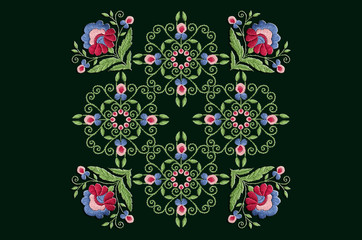 Ornament for embroidery of stylized flower with twisted stems and big leaves and on black background