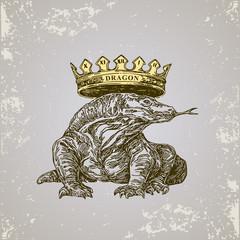 Chinese horoscope. Dragon. Sketch tattoo. Vector illustration.