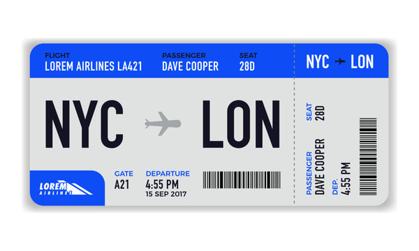 Modern and realistic airline ticket design with flight time and passenger name. vector illustration of Boarding Pass