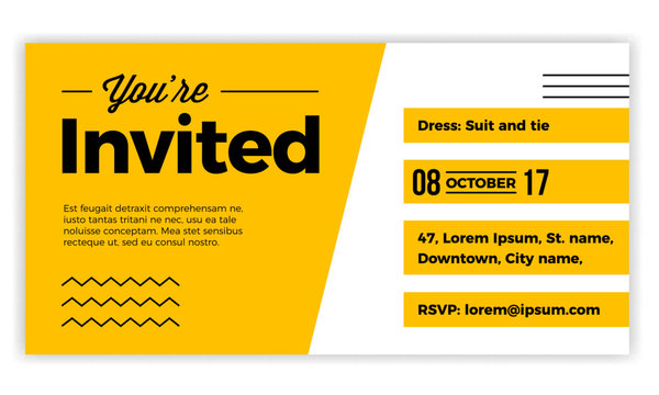 You are Invited design voucher template for weddings, party, cocktails, meetups. Modern, minimal, simple & luxury standard layout concept.