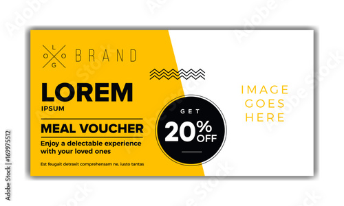 Meal Voucher Template, Coupon Design, Ticket, Banner. Modern, Minimal,  Simple  Meal Voucher Template