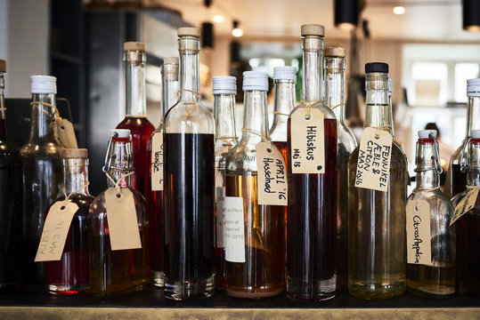Bottles of different bitters and liqueurs