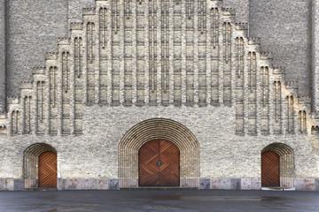 Wooden doors of brick church building