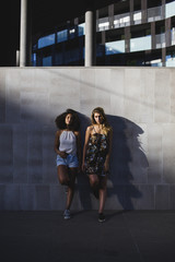 Two attractive girls leaning against a wall
