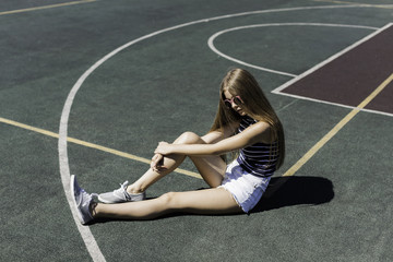 girl on the school sport field