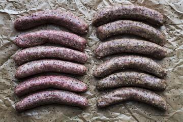 Raw Bratwurst and Kielbasa ready for grilling
