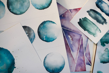 Top Down Watercolor Circles and Swatches
