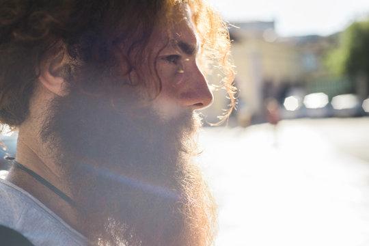 Cool long beard man portrait