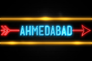 Ahmedabad  - fluorescent Neon Sign on brickwall Front view