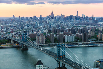 Aerial of Midtown Manhattan at sunset, New York city, USA