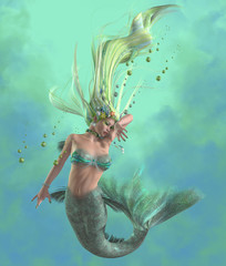 Green Mermaid - A mermaid is a mythical legendary creature composed of a beautiful woman with a fish tail.