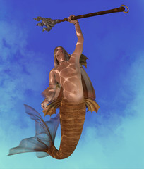 Merman - A Merman is a mythical legendary creature who may be a handsome seductor made of a man with a fish tail.
