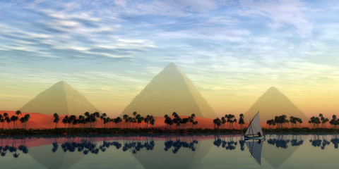 The Great Pyramids and Nile River - The Great Pyramids stand majestically over the Nile River running through the land of Egypt.