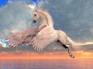 White Arabian Pegasus Horse - An Arabian Pegasus horse rises on powerful wings to fly over the ocean on a sunny day.