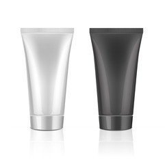 Mock up cosmetic tube template for cream, gel, liquid, shampoo, foam. White and black colors on a white background. Beauty product package, vector illustration.