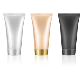 Mockup cosmetic tube for cream, gel, liquid, shampoo, foam. White, nude and black colors on a white background. Beauty product package, vector illustration.