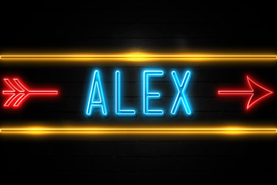 Alex  - fluorescent Neon Sign on brickwall Front view