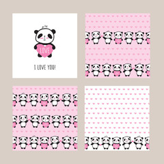 Set of Greeting card and seamless patterns with cute pandas and hearts. Wrapping paper for Valentine's Day, Mother's Day, birthday, wedding. Doodles, sketch. Vector.