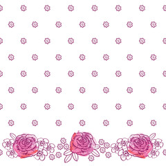 Floral pattern with hand drawn flowers for textile, wallpapers, gift wrap and scrapbook.  Vector.