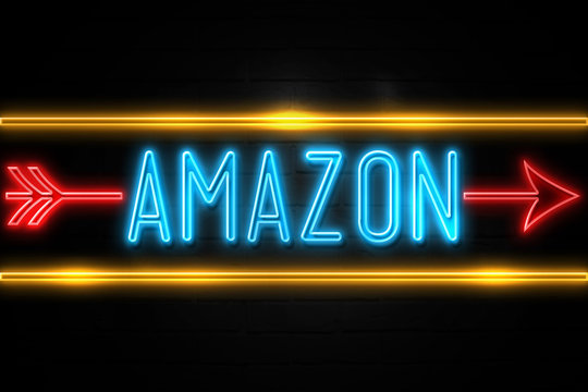 Amazon  - fluorescent Neon Sign on brickwall Front view