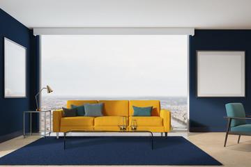 Yellow sofa, blue living room