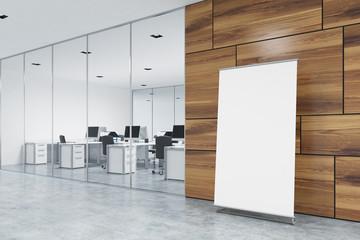 Vertical poster on office floor, lobby, side