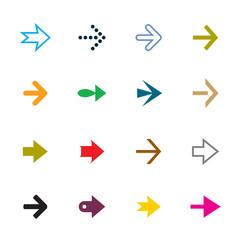 Set of color vector arrows