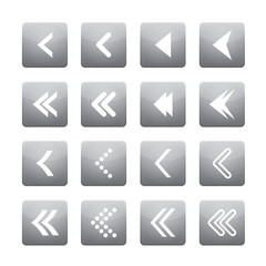 Set of white vector arrows and grey buttons.