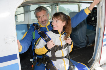 skydiving tandem jumping from the plane