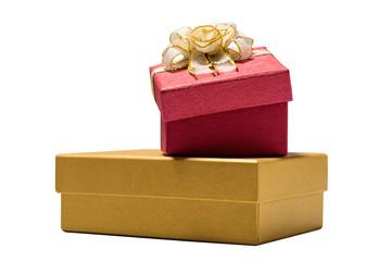 Elegant gift box with golden bow on white background