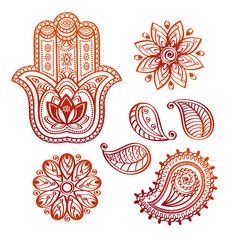 Mehndi tattoo doodle elements with hamsa hand, indian lotus and paisley on white background