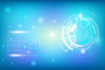Blue Circle Abstract Hi Technology Innovation With Line Circuit Communication Vector Background